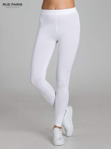 Białe legginsy ze złotym suwakiem na dole                                  zdj.                                  1