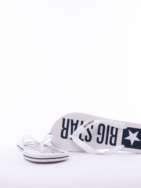 Białe męskie klapki BIG STAR z dużym logo na podeszwie                               zdj.                              4