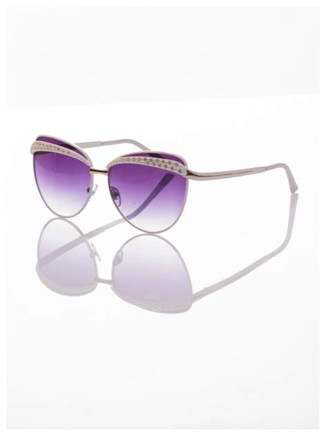 Białe okulary przeciwsłoneczne z cyrkoniami w stylu RETRO                                   zdj.                                  1