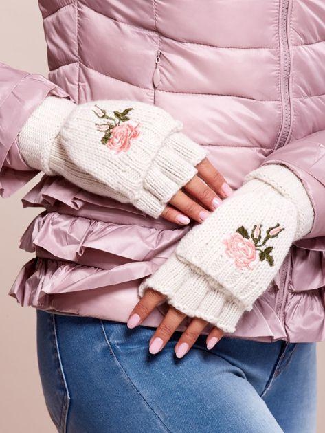 Białe rękawiczki z haftem                              zdj.                              3