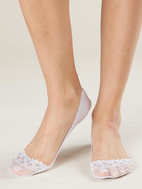 Białe skarpetki balerinki