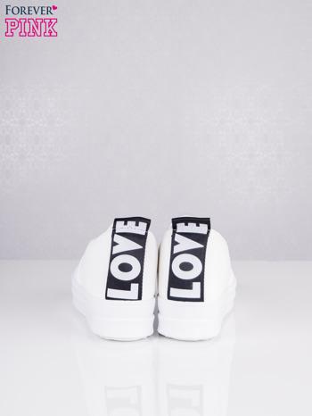 Białe skórzane slipony na koturnie Destination z napisem LOVE                                  zdj.                                  4