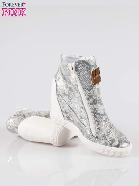 Białe sneakersy snake print z zamkiem                                  zdj.                                  4