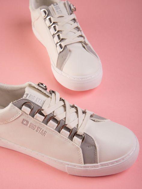 Białe tenisówki BIG STAR z ozdobnymi szlufkami                               zdj.                              5