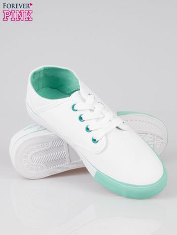 Białe tenisówki z miętowym wykończeniem                                  zdj.                                  4