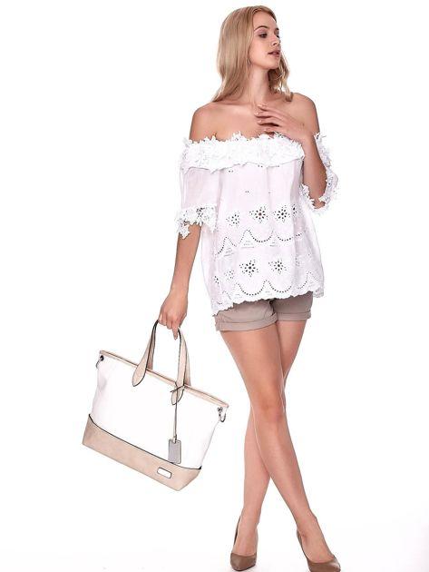 Biało-beżowa torba shopper z eko skóry z odpinanym paskiem                              zdj.                              4