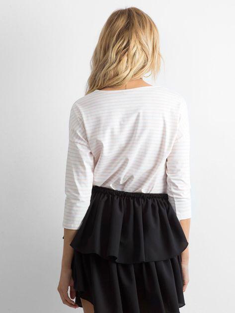 Biało-brzoskwiniowa bluzka damska w paski                              zdj.                              2
