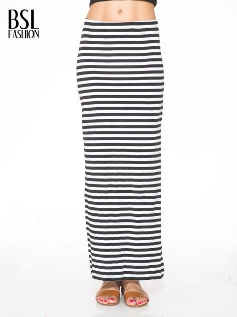 Biało-czarna spódnica maxi w paski                                  zdj.                                  1
