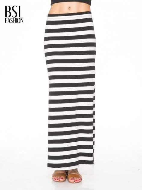 Biało-czarna spódnica maxi w pasy                                  zdj.                                  1