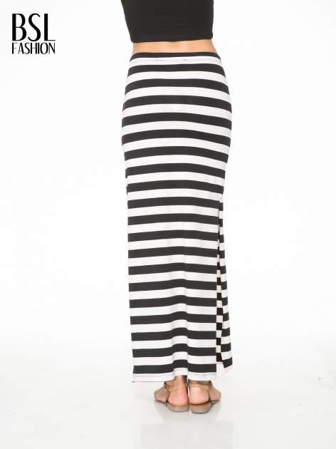 Biało-czarna spódnica maxi w pasy                                  zdj.                                  4