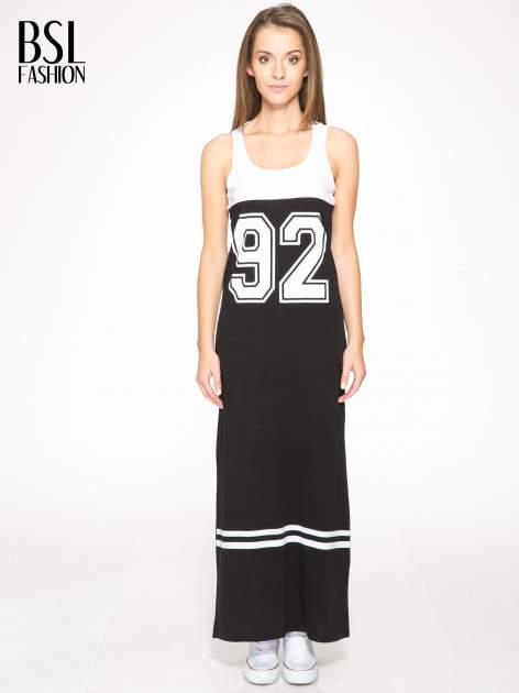 Biało-czarna sukienka maxi z numerem 92 w stylu baseball dress                                  zdj.                                  1