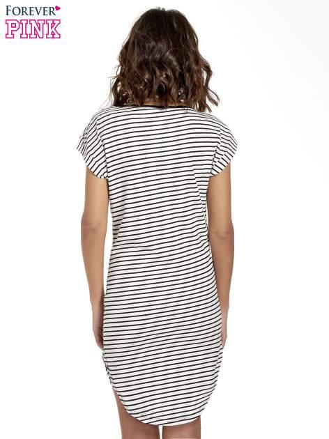 Biało-czarna sukienka w paski z napisem I DON'T THINK ABOUT IT!                                  zdj.                                  4