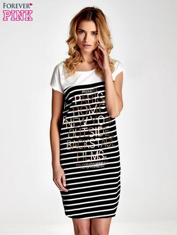 Biało-czarna sukienka w paski z napisem w stylu city