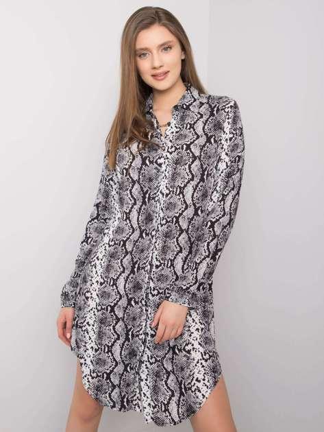 Biało-czarna sukienka z printami Holly RUE PARIS