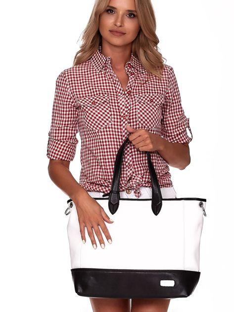 Biało-czarna torba shopper z eko skóry z odpinanym paskiem                              zdj.                              3
