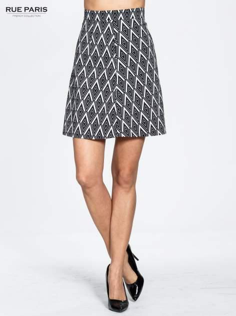 Biało-czarna trapezowa spódnica w geometryczne wzory w stylu op-art                                  zdj.                                  1