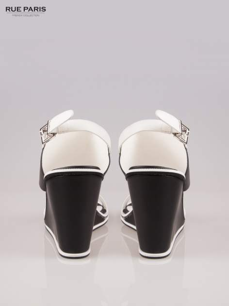 Biało-czarne koturny faux leather Genteel two tone z odkrytą piętą                                  zdj.                                  3