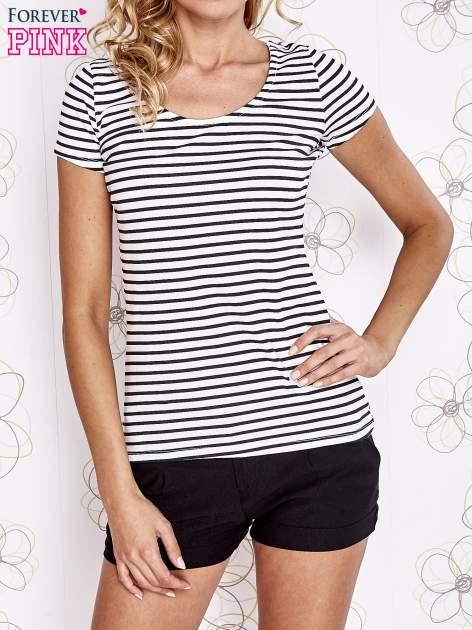 Biało-czarny t-shirt w paski crossed back                                  zdj.                                  1