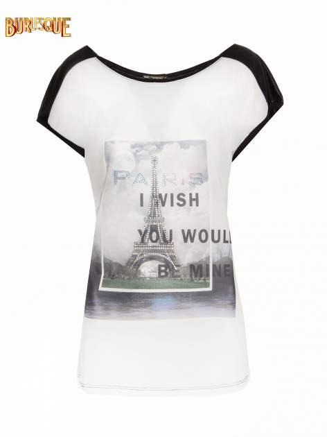 Biało-czarny t-shirt z nadrukiem wieży Eiffla                                   zdj.                                  1