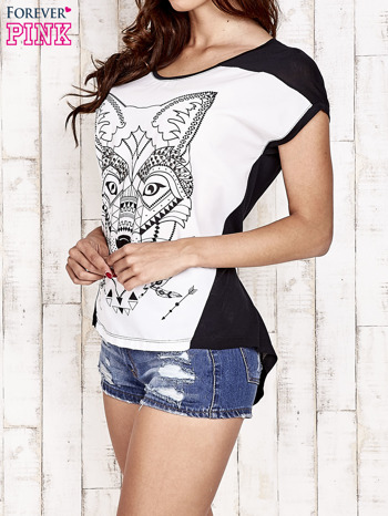 Biało-czarny t-shirt z wilkiem w azteckim stylu                                  zdj.                                  3