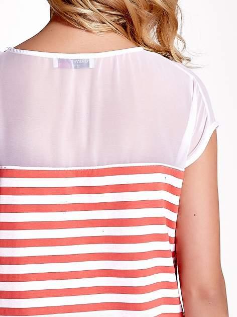 Biało-czerwony t-shirt z tiulowym wykończeniem                                  zdj.                                  6