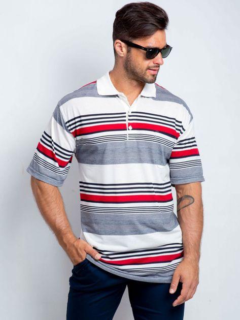 Biało-granatowa koszulka polo męska plus size Individual