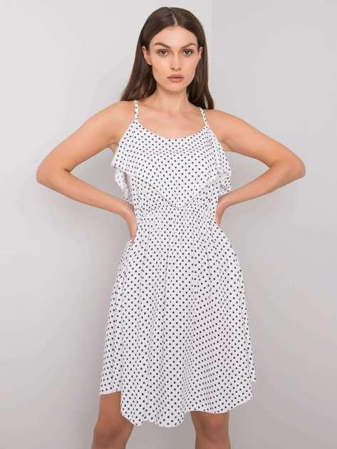 Biało-granatowa sukienka w groszki Ilene
