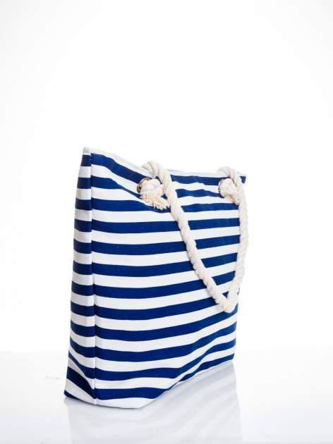 Biało-granatowa torba plażowa w paski                                  zdj.                                  3