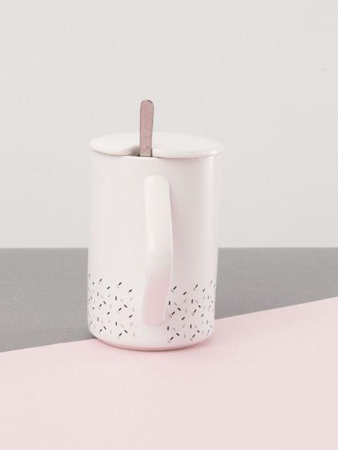 Biało-granatowy kubek ceramiczny z pokrywką                              zdj.                              2