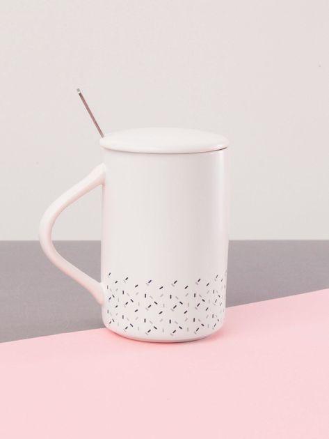 Biało-granatowy kubek ceramiczny z pokrywką                              zdj.                              3