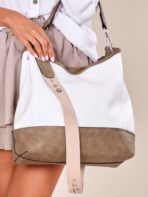 Biało-khaki torba miejska z eko skóry                              zdj.                              6
