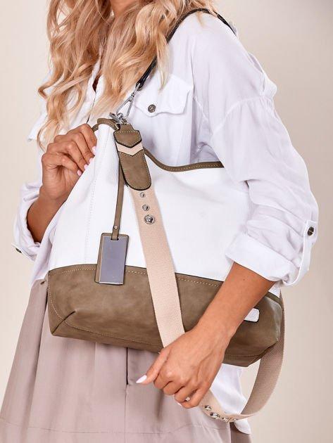 Biało-khaki torba miejska z eko skóry                              zdj.                              7