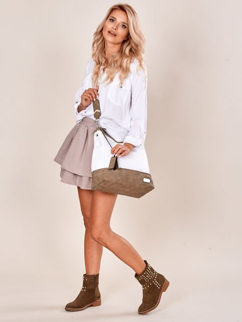 Biało-khaki torba miejska z eko skóry                              zdj.                              8
