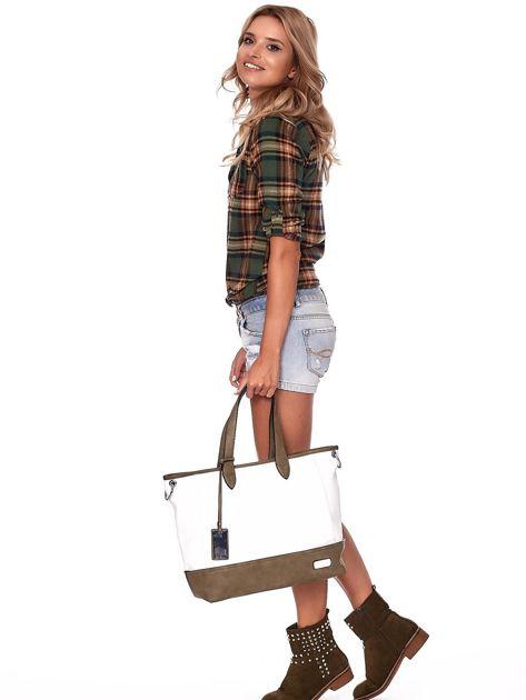 Biało-khaki torba shopper z eko skóry z odpinanym paskiem                              zdj.                              2