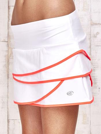 Biało-koralowe spodenki spódniczka tenisowa z falbankami                                  zdj.                                  7