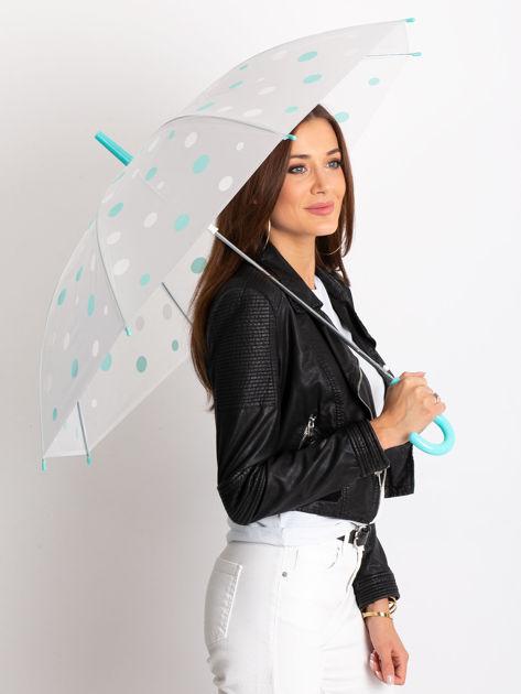 Biało-miętowa parasolka w grochy                              zdj.                              1