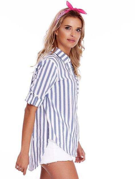 Biało-niebieska koszula w paski                              zdj.                              3