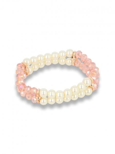 Biało - różowa Bransoletka koralikowa                                  zdj.                                  1