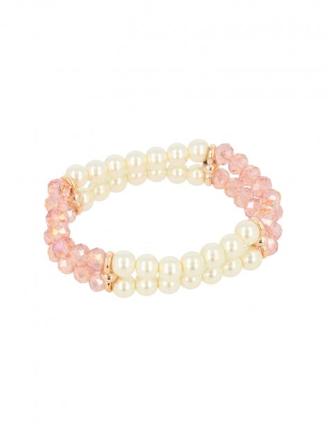 Biało - różowa Bransoletka koralikowa                                  zdj.                                  2