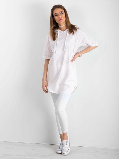 Biało-różowa bluzka w paski                               zdj.                              4