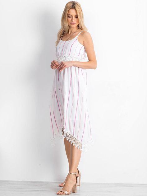 Biało-różowa sukienka Sundance