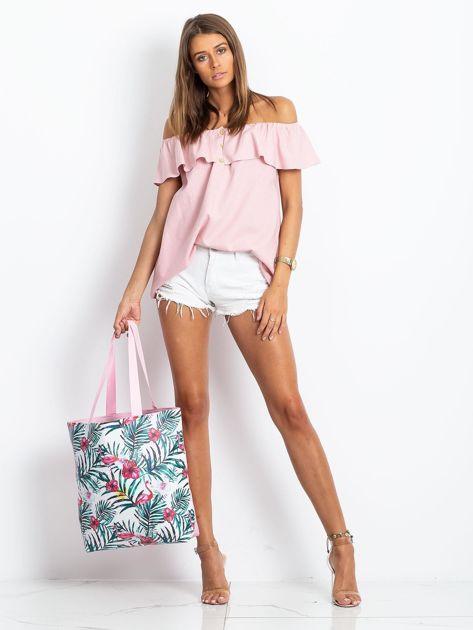 Biało-różowa torba z nadrukiem                              zdj.                              7