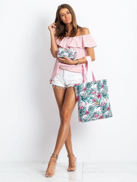 Biało-różowa torba z nadrukiem                              zdj.                              9
