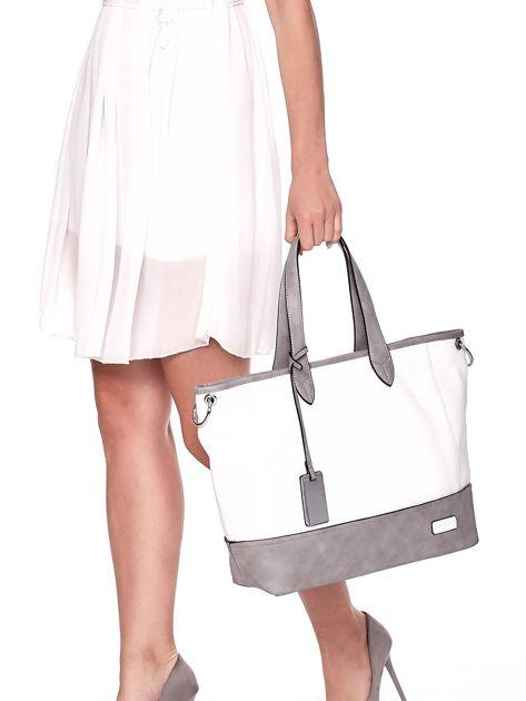 Biało-szara torba shopper z eko skóry z odpinanym paskiem                              zdj.                              2