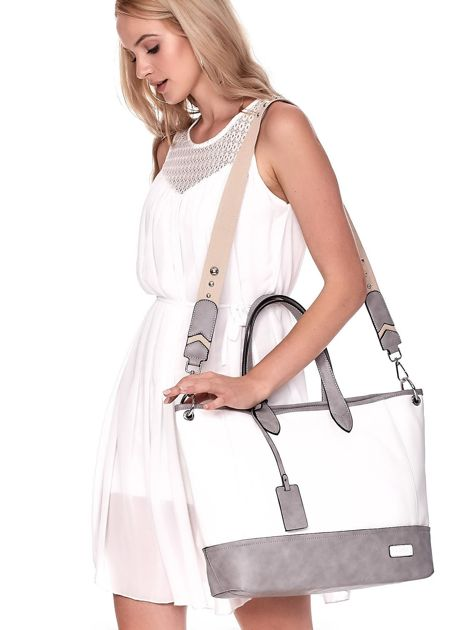 Biało-szara torba shopper z eko skóry z odpinanym paskiem                              zdj.                              6