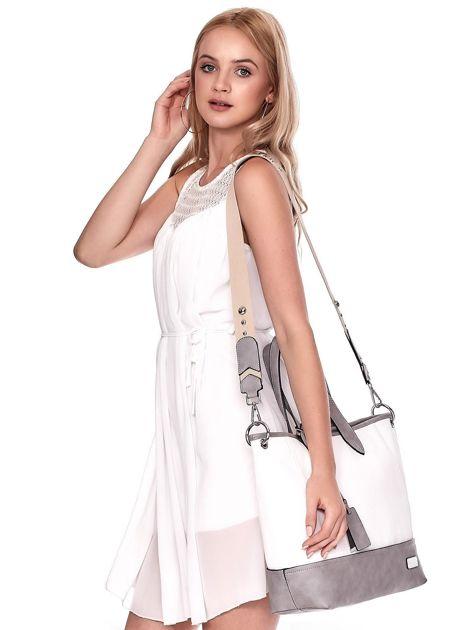 Biało-szara torba shopper z eko skóry z odpinanym paskiem                              zdj.                              7