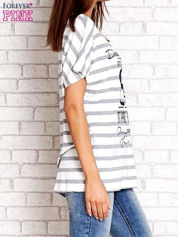 Biało-szary t-shirt w paski z napisem DAYDREAM NATION                                  zdj.                                  3