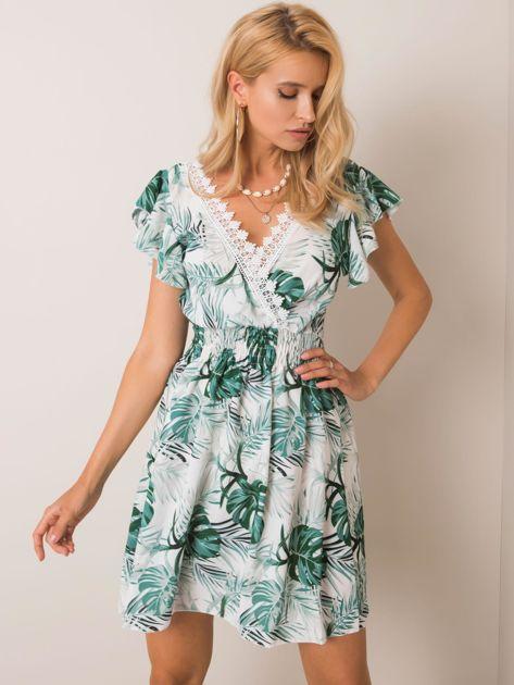 Biało-zielona sukienka Exotic SUBLEVEL