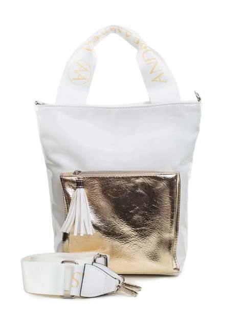 Biało-złota torba z ekoskóry