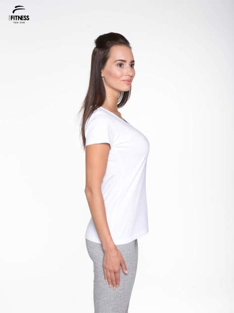 Biały bawełniany t-shirt damski typu basic                                  zdj.                                  3